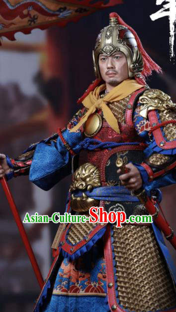 Chinese Ancient Cosplay General Armor and Helmet Traditional Han Dynasty Military Officer Costumes Complete Set for Men