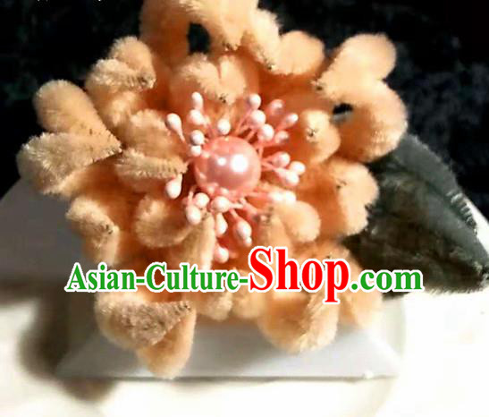 Handmade Chinese Ancient Qing Dynasty Pink Velvet Chrysanthemum Hairpins Traditional Court Hanfu Hair Accessories for Women