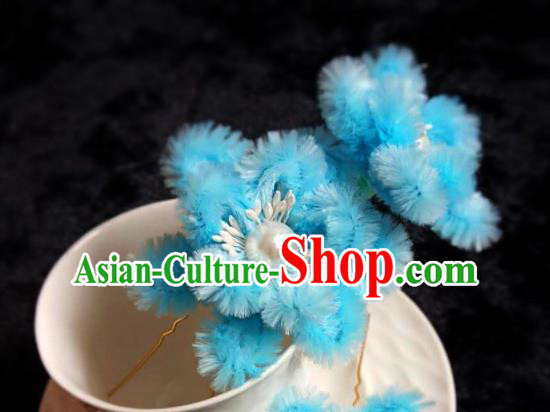 Handmade Chinese Ancient Qing Dynasty Blue Velvet Hibiscus Hairpins Traditional Court Hanfu Hair Accessories for Women