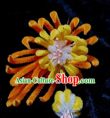 Chinese Handmade Qing Dynasty Orange Velvet Chrysanthemum Hairpins Traditional Ancient Court Hanfu Hair Accessories for Women