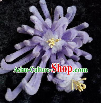 Chinese Handmade Qing Dynasty Lilac Velvet Chrysanthemum Hairpins Traditional Ancient Court Hanfu Hair Accessories for Women