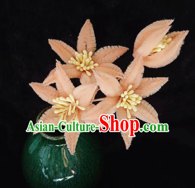 Chinese Handmade Qing Dynasty Court Peachy Velvet Lily Flowers Hairpins Traditional Ancient Hanfu Hair Accessories for Women
