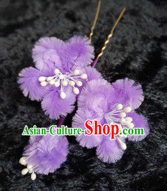 Chinese Handmade Qing Dynasty Court Purple Velvet Plum Hairpins Traditional Ancient Hanfu Hair Accessories for Women