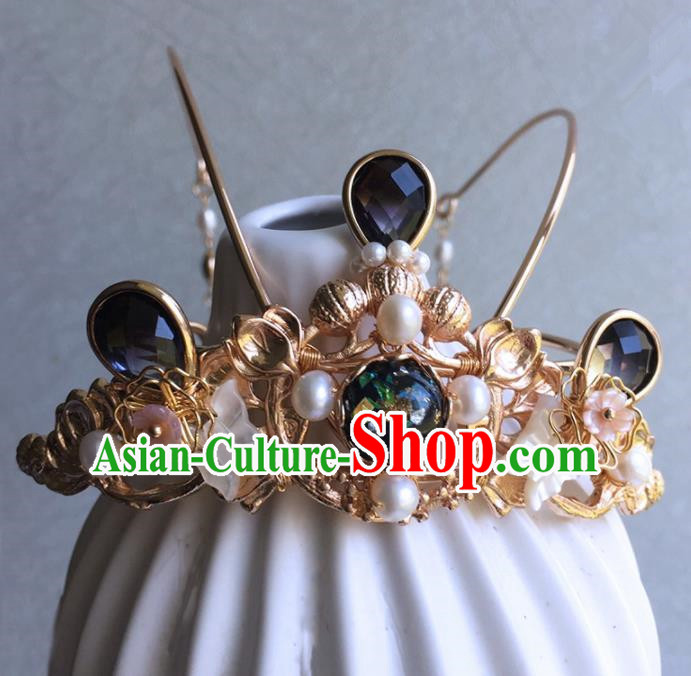 Chinese Handmade Ancient Tassel Hair Crown Hairpins Traditional Hanfu Hair Accessories for Women