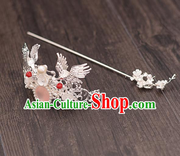 Chinese Ancient Bride Crane Hairdo Crown Hairpins Traditional Hanfu Wedding Hair Accessories for Women