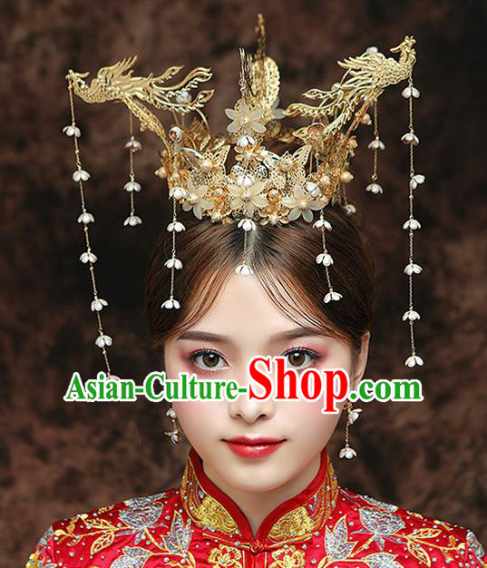 Chinese Ancient Bride Three Phoenix Coronet Hairpins Traditional Hanfu Wedding Hair Accessories for Women