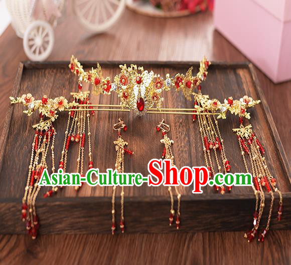 Chinese Ancient Bride Red Crystal Phoenix Coronet Hairpins Traditional Hanfu Wedding Hair Accessories for Women