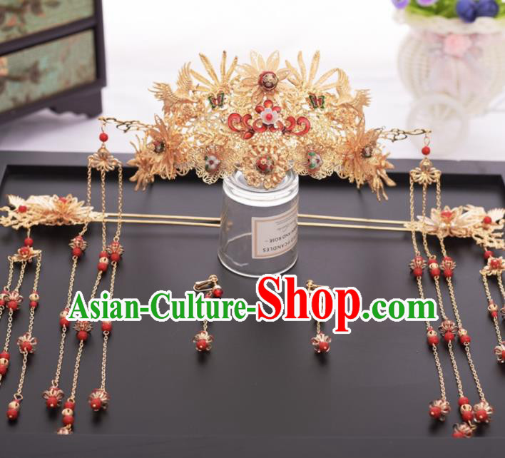 Chinese Ancient Bride Ceramics Bead Phoenix Coronet Hairpins Traditional Hanfu Wedding Hair Accessories for Women