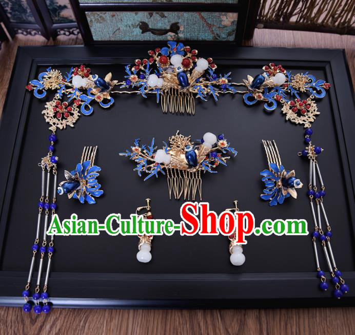 Chinese Ancient Bride Blueing Hair Comb Tassel Hairpins Traditional Hanfu Wedding Hair Accessories for Women