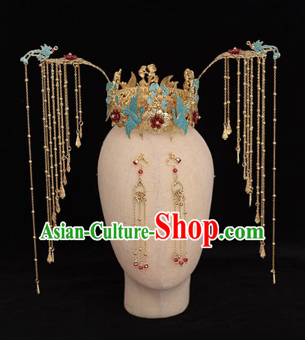 Chinese Ancient Bride Blue Cranes Tassel Phoenix Coronet Hairpins Traditional Hanfu Wedding Hair Accessories for Women