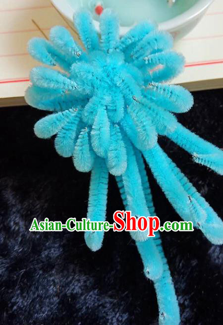 Chinese Ancient Court Blue Velvet Chrysanthemum Hairpins Traditional Hanfu Handmade Hair Accessories for Women
