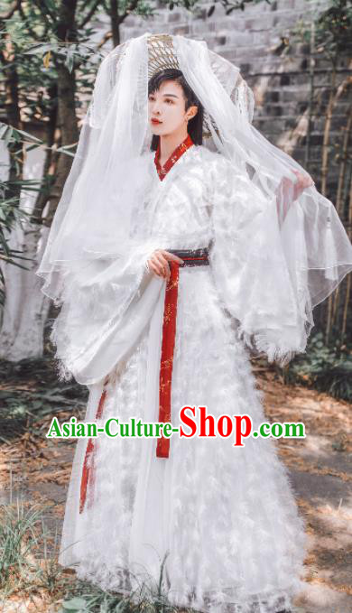 Traditional Chinese Jin Dynasty Swordsman Hanfu Clothing Ancient Nobility Childe Feather Replica Costumes for Men