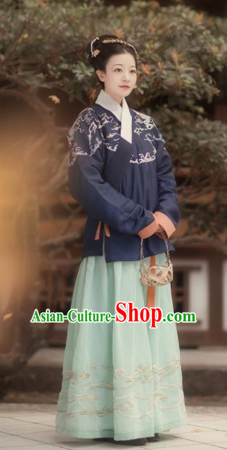Traditional Chinese Ming Dynasty Palace Embroidered Hanfu Dress Ancient Court Princess Replica Costumes for Women