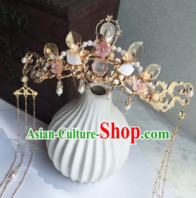 Chinese Handmade Ancient Princess Tassel Pine Hair Crown Hairpins Traditional Hanfu Hair Accessories for Women