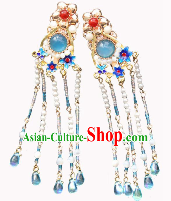 Chinese Ancient Princess Blueing Tassel Hair Claws Hairpins Traditional Handmade Hanfu Hair Accessories for Women