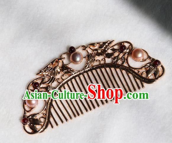 Chinese Ancient Princess Golden Hair Comb Hairpins Traditional Handmade Hanfu Hair Accessories for Women