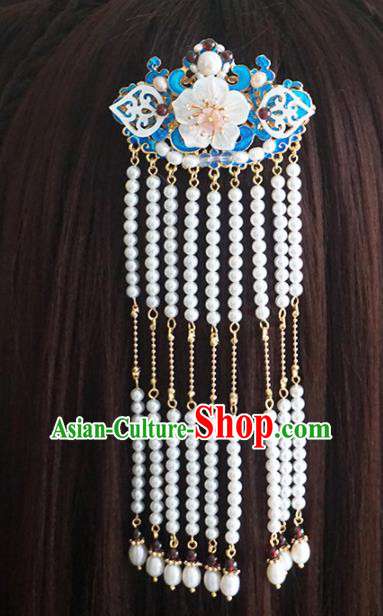 Chinese Ancient Princess Tassel Blueing Hair Claw Hairpins Traditional Handmade Hanfu Hair Accessories for Women