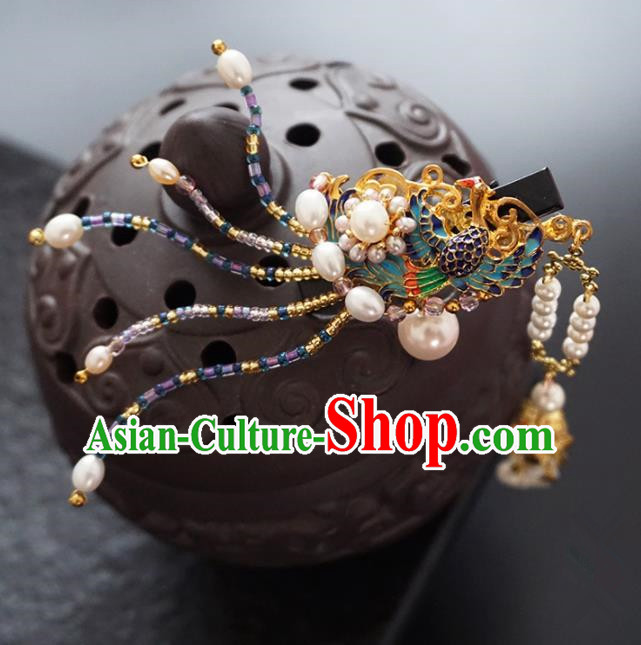 Chinese Ancient Princess Cloisonne Phoenix Hair Claw Hairpins Traditional Handmade Hanfu Hair Accessories for Women