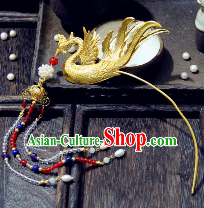 Ancient Chinese Tang Dynasty Phoenix Tassel Step Shake Hairpins Traditional Hanfu Court Hair Accessories for Women