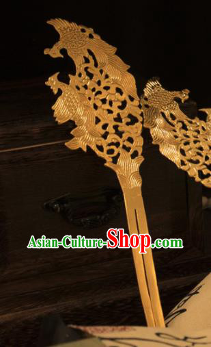 Ancient Chinese Ming Dynasty Golden Hairpins Traditional Hanfu Court Hair Accessories for Women