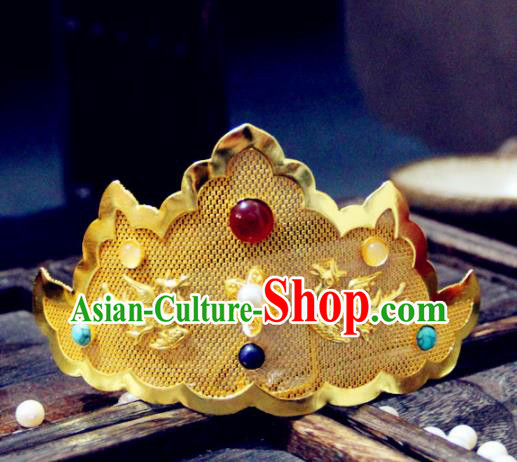 Ancient Chinese Ming Dynasty Golden Hair Crown Hairpins Traditional Hanfu Court Hair Accessories for Women