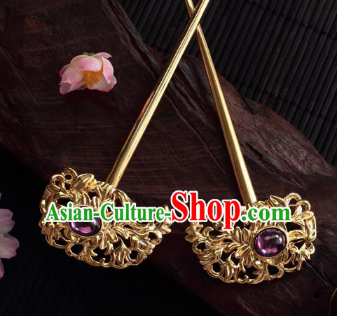 Chinese Ancient Princess Hair Clip Golden Hairpins Traditional Handmade Hanfu Hair Accessories for Women
