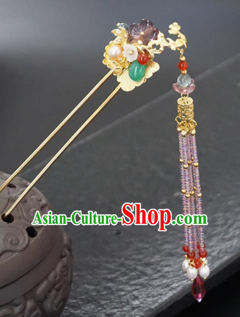 Chinese Ancient Princess Golden Ginkgo Tassel Hair Clip Hairpins Traditional Handmade Hanfu Hair Accessories for Women