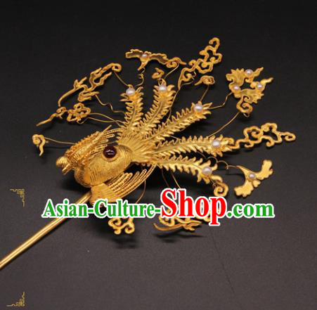 Chinese Ancient Ming Dynasty Empress Phoenix Hairpins Traditional Hanfu Court Hair Accessories for Women