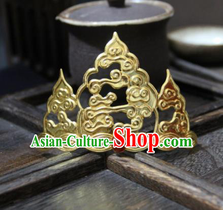 Chinese Ancient Princess Golden Cloud Hair Crown Hairpins Traditional Handmade Hanfu Hair Accessories for Women
