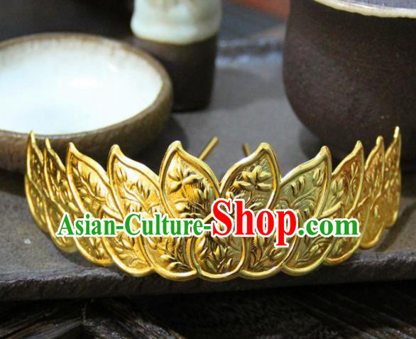 Chinese Ancient Princess Golden Hair Crown Hairpins Traditional Handmade Hanfu Hair Accessories for Women