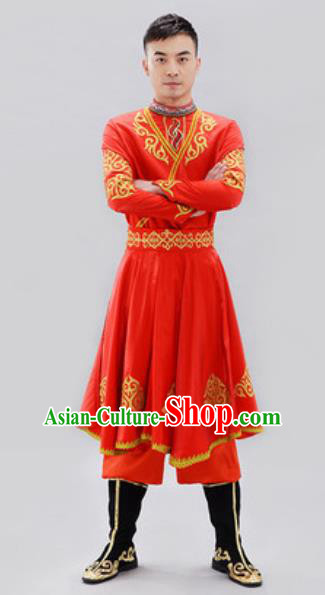 Traditional Chinese Uyghur Nationality Group Dance Costume Chinese Uigurian Minority Red Clothing for Men