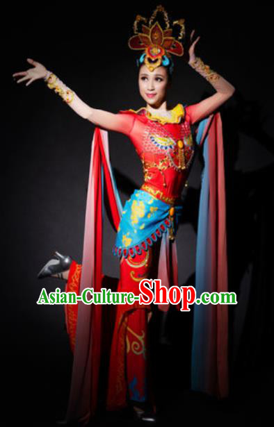 Chinese Spring Festival Gala Dunhuang Flying Apsaras Dance Red Dress Traditional Classical Dance Costume for Women