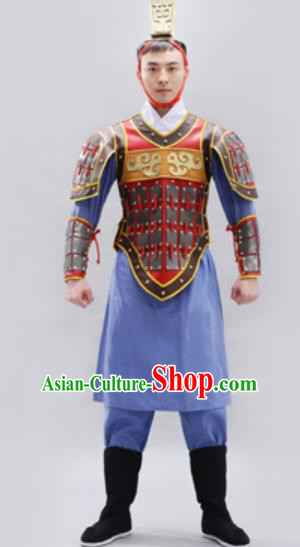 Traditional Chinese Qin Dynasty Warrior Blue Helmet and Armour Ancient Drama General Costumes for Men