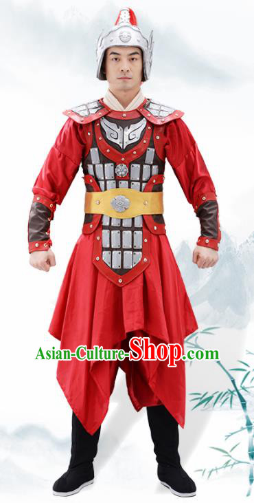 Traditional Chinese Han Dynasty Warrior Helmet and Armour Ancient Drama General Costumes for Men
