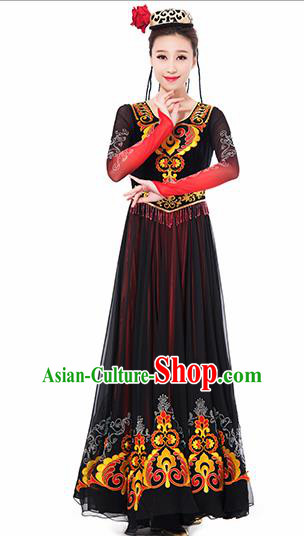 Traditional Chinese Uyghur Nationality Ethnic Costume Uigurian Minority Dance Black Dress for Women