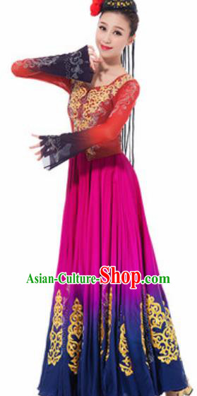 Traditional Chinese Uyghur Nationality Ethnic Costume Uigurian Minority Dance Rosy Silk Dress for Women