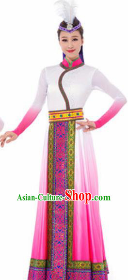 Traditional Chinese Mongol Nationality Ethnic Costume Mongolian Minority Dance Pink Dress for Women