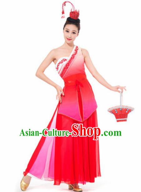 Chinese Spring Festival Gala Dance Red Dress Traditional Classical Dance Costume for Women