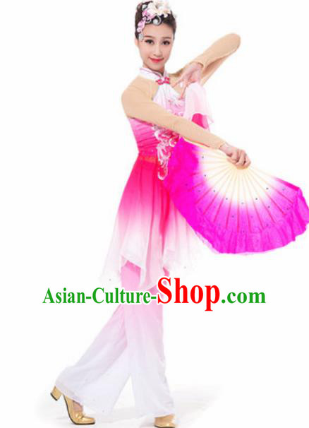 Chinese Spring Festival Gala Fan Dance Rosy Dress Traditional Classical Dance Costume for Women