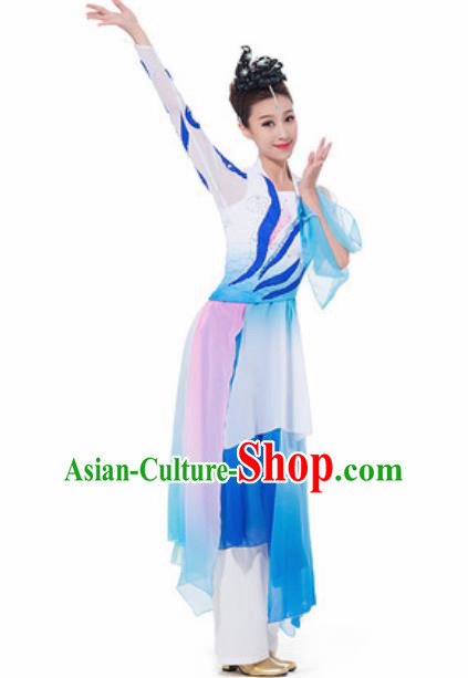 Chinese Spring Festival Gala Fan Dance Blue Dress Traditional Classical Dance Costume for Women
