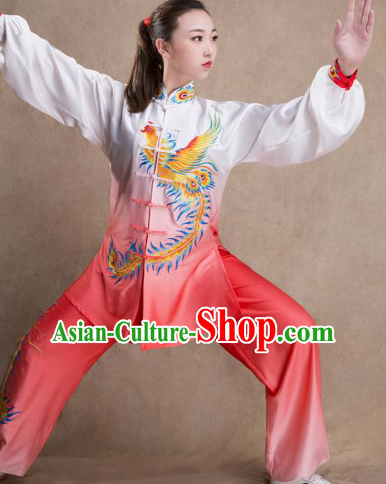 Chinese Traditional Martial Arts Gradient Pink Costume Kung Fu Tai Chi Training Clothing for Women