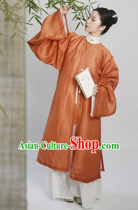Traditional Chinese Ming Dynasty Taoist Nun Orange Hanfu Dress Ancient Nobility Lady Replica Costumes for Women