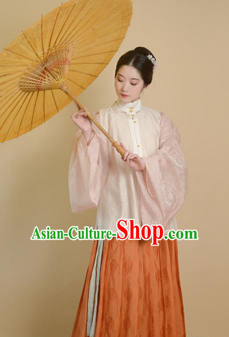 Traditional Chinese Ming Dynasty Princess Beige Vest Ancient Drama Court Lady Replica Costumes for Women