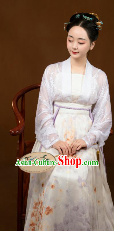 Traditional Chinese Song Dynasty White Hanfu Dress Ancient Drama Aristocratic Dowager Replica Costumes for Women