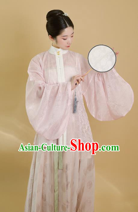 Traditional Chinese Ming Dynasty Palace Lady Pink Blouse Ancient Drama Princess Replica Costumes for Women