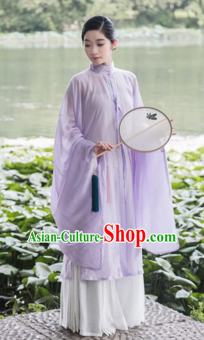 Traditional Chinese Ming Dynasty Palace Lilac Long Gown Ancient Drama Princess Replica Costumes for Women