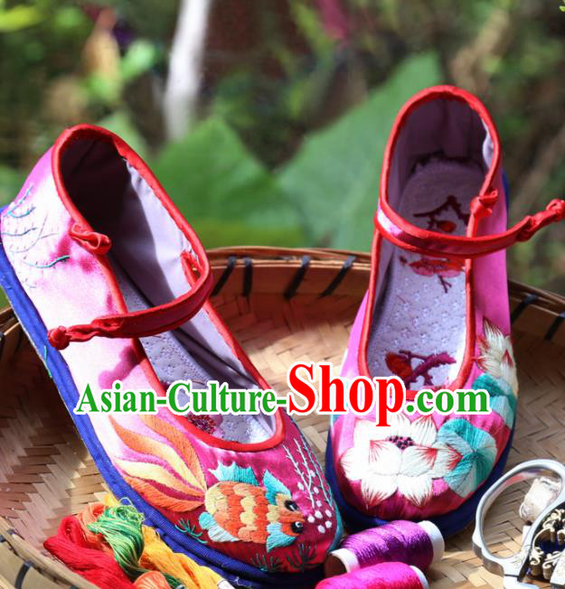 Traditional Chinese Embroidered Lotus Rosy Shoes Handmade Hanfu Shoes Ancient Princess Satin Shoes for Women