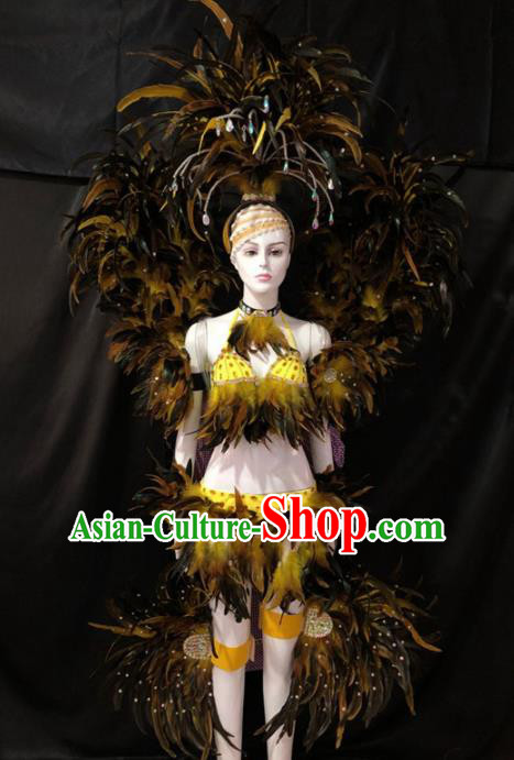 Customized Halloween Samba Dance Feather Costume Brazil Parade Wings Backboard and Headpiece for Women