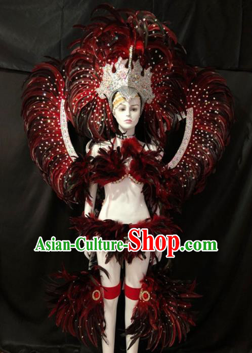 Customized Halloween Samba Dance Red Feather Costume Brazil Parade Wings Backboard and Headpiece for Women