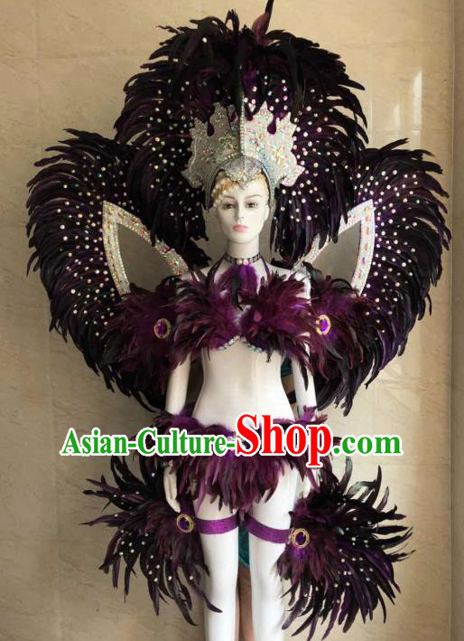 Customized Halloween Samba Dance Purple Feather Costume Brazil Parade Wings Backboard and Headpiece for Women